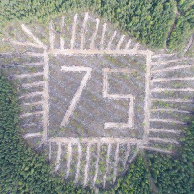 В Кочевском районе создали геоглиф в форме цифры «75».